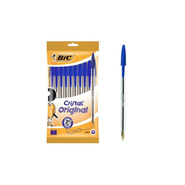 Bolígrafo cristal med pouch 10 blue - 830863 bic