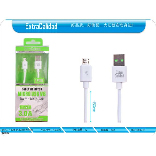 CABLE MICRO USB 1.5M 3A