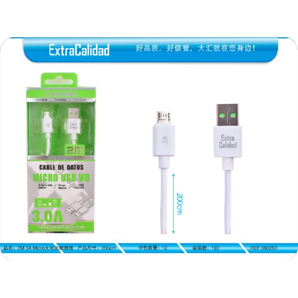 CABLE MICRO USB 2M 3A