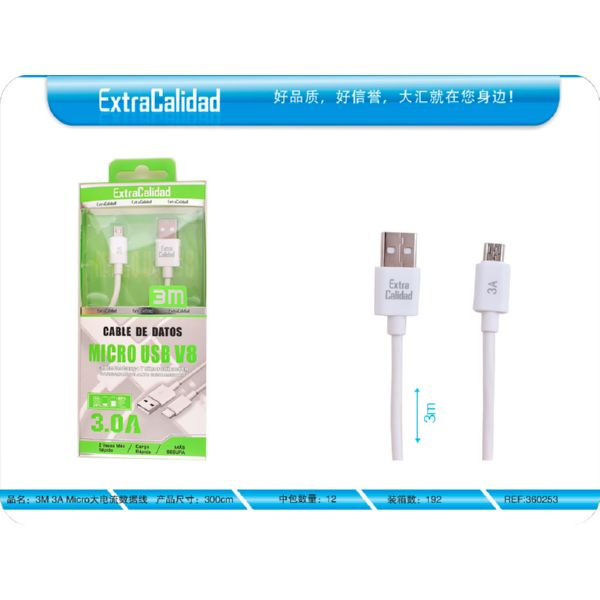 CABLE MICRO USB 3M 3A