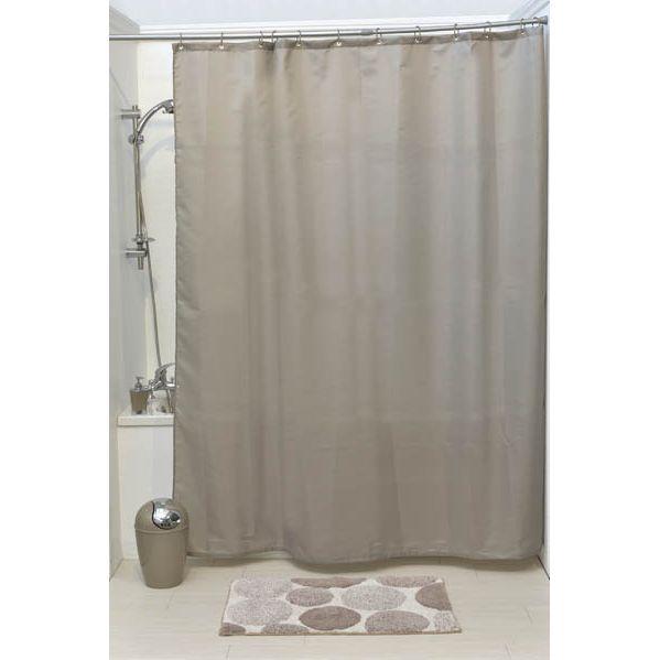 Cortina de ducha poliester  180 x 200 cm con 12 anillos de ducha - topo