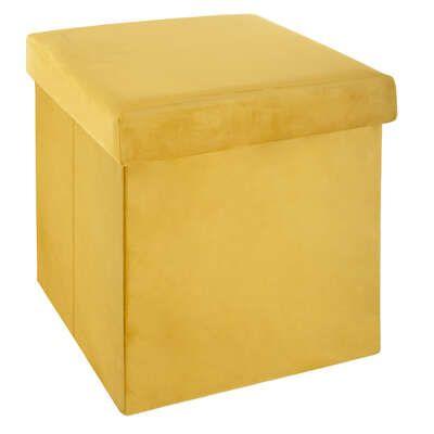 Puf plegable de terciopelo amarillo Tess
